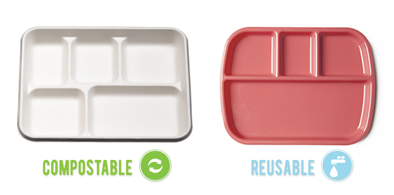 compostable tray & reusable-tray